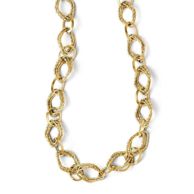 Italian 14k Gold Polished and Textured Fancy Link with 2in ext. Necklace - 18 inches