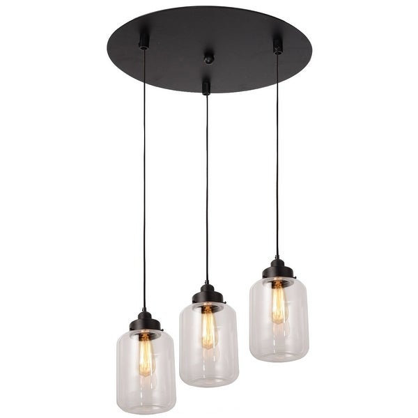 3 Light Vintage Industrial Glass Mason Jar Pendant Lamp Light