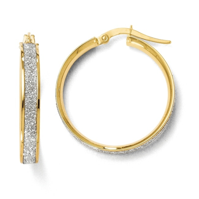 Italian 14k Gold Polished Glimmer Infused Hoop Earrings