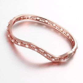 Vienna Jewelry Rose Gold Plated Elegant Thin Lay Bangle