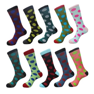 Funny Men's Polka Dots Cotton Casual Dress Socks (10 PAIRs) Size 10 - 13