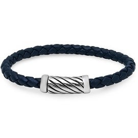 Oxford Ivy Braided Navy Leather Bracelet with Magnetic Stainless Steel Clasp ( 8 3/4 inches)