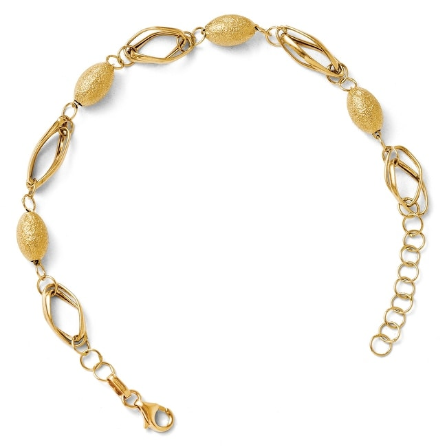 Italian 14k Gold Polished and Textured Beads with 1in ext Bracelet - 7 inches