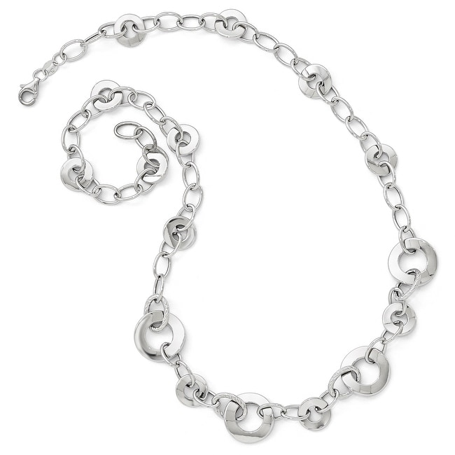 Italian 14k White Gold Polished Textured Necklace - 18 inches