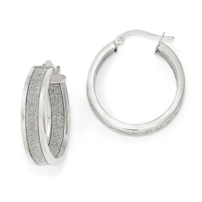 Italian 14k White Gold Polished Glimmer Infused Hoop Earrings