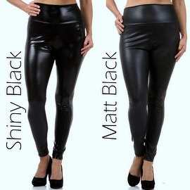 Shiny Plus size women's solid Faux leather high waist leggings pants XL 2XL 3XL