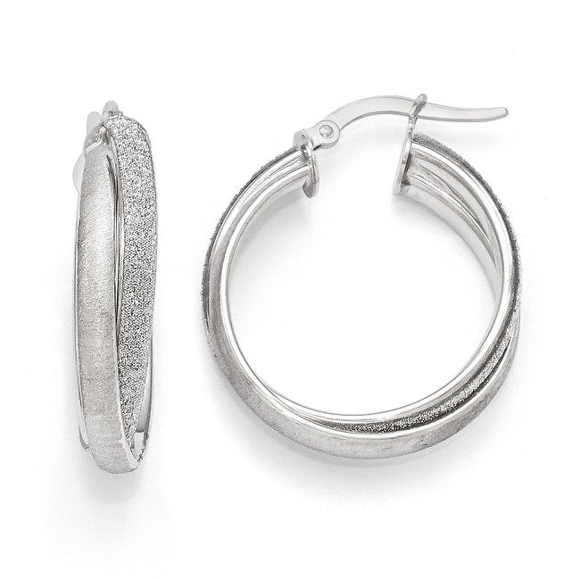 Italian 14k White Gold Satin Glimmer Infused Fancy Hoop Earrings