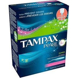 Tampax Pearl Plastic Super Absorbency Tampons, Fresh Scent 18 ea