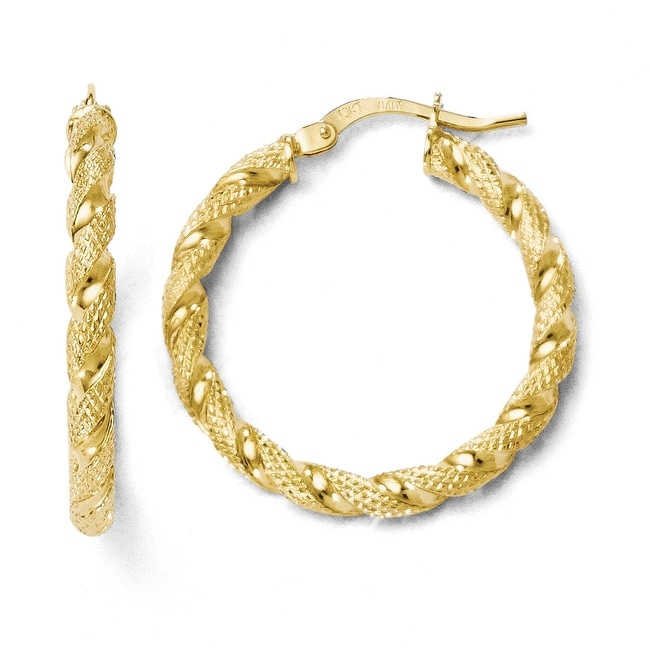 Italian 10k Gold Polished and Textured Twisted Hinged Hoop Earrings