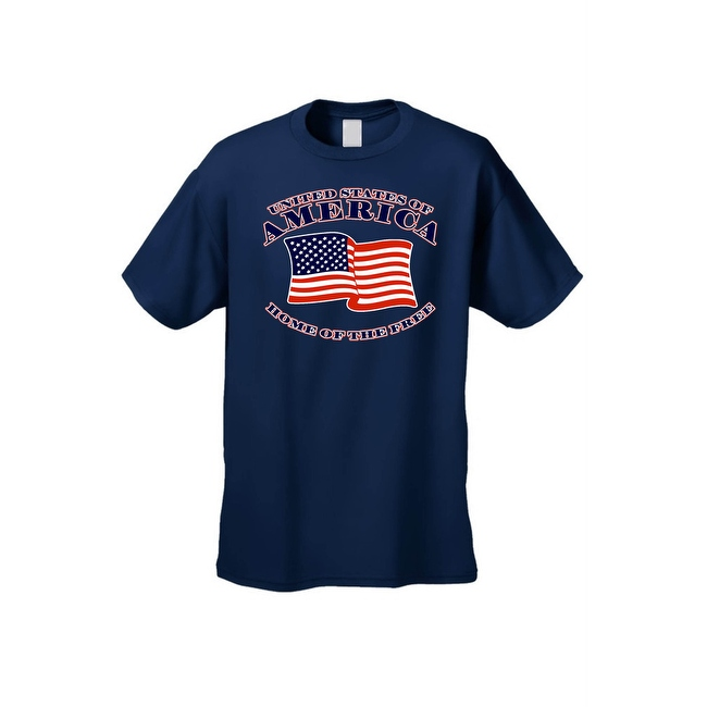Men's USA Flag T Shirt Patriotic Home of the Free United States of America Tee