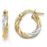 Italian 14k Gold with White Rhodium Plating Polished Hoop Earrings