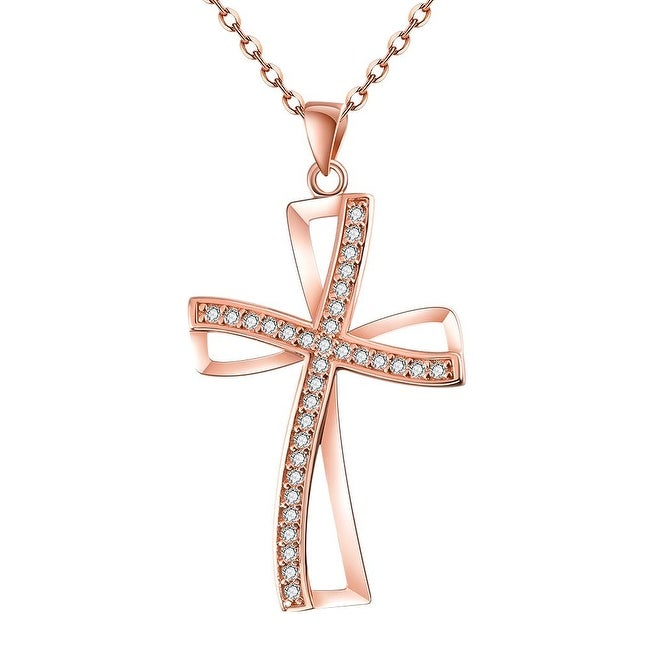 Rose Gold Plated Modern Twist to the Religious Cross Necklace