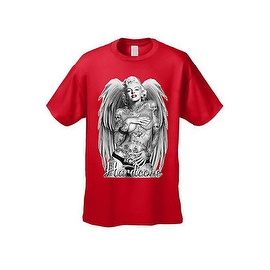 MEN'S T-SHIRT Hardcore Marilyn ANGEL WINGS WORLD IS MINE ROSE SKULL TATTOO S-5X