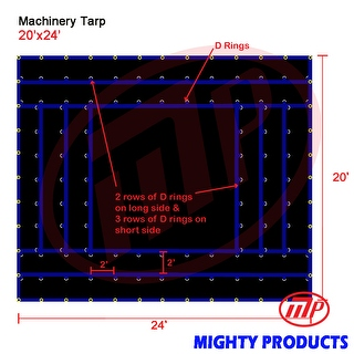 Xtarps - 20' x 24'  Truck Tarp - Machinery Tarp - Heavy Duty, Industrial Grade