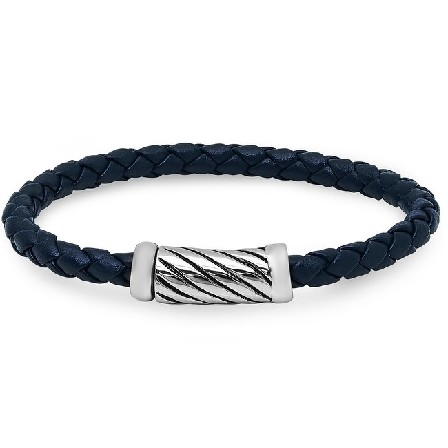 Oxford Ivy Braided Navy Leather Bracelet with Magnetic Stainless Steel Clasp ( 8 1/2 inches)