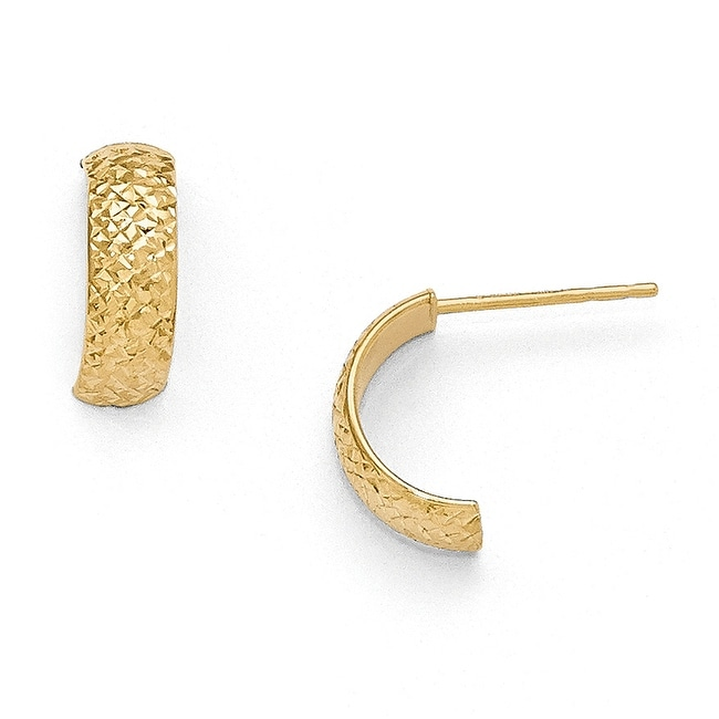 14k Gold Polished and Diamond Cut Hoop Earrings