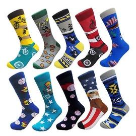 Men's Groomsman Novelty Cotton Art Patterned Casual Crew Socks (10 PAIRs) Size 10 - 13