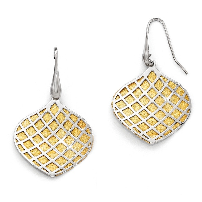 Italian Sterling Silver Gold-plated Polished Scratch-Finish Earrings