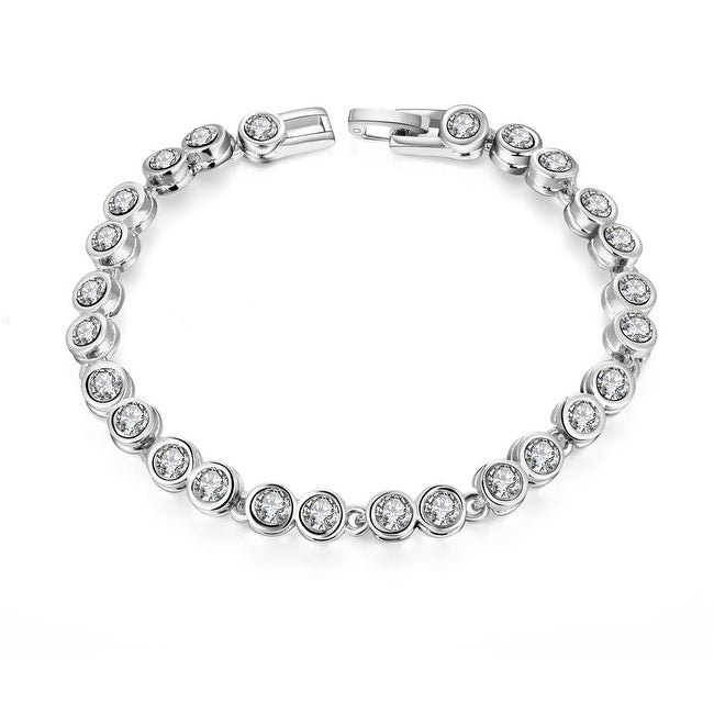 Around the World 18K White Gold Plated Pave'  Bracelet