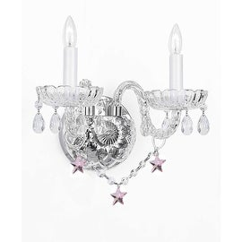 Wall Sconce Lighting With Crystal Pink *Stars* Perfect for Kids & Kid's Rooms