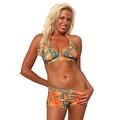 Women's 2-Piece Camo Bikini Orange True Timber Halter Top & Hot Shorts Beach Swimwear Swimsuit - Thumbnail 0