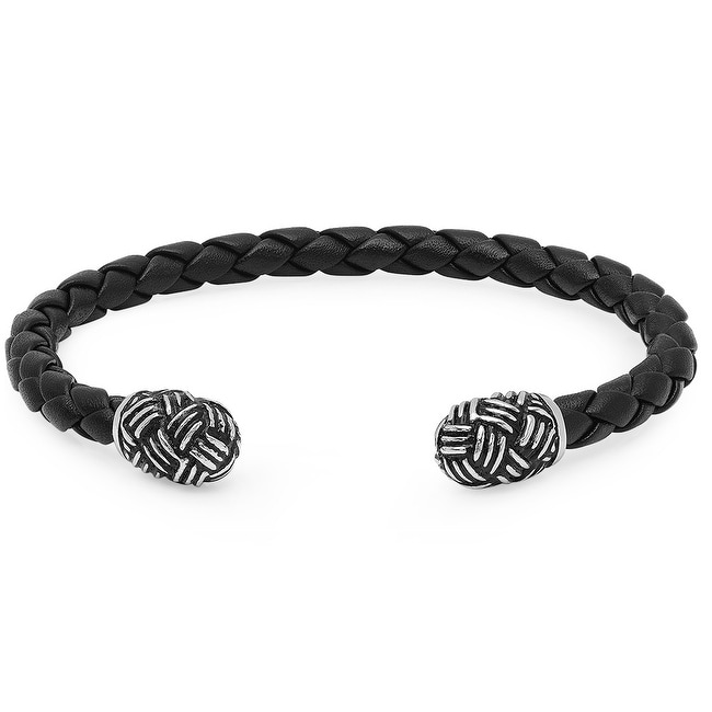 Oxford Ivy Braided Black Leather Cuff Bracelet with Stainless Steel Ends ( 8 inches)