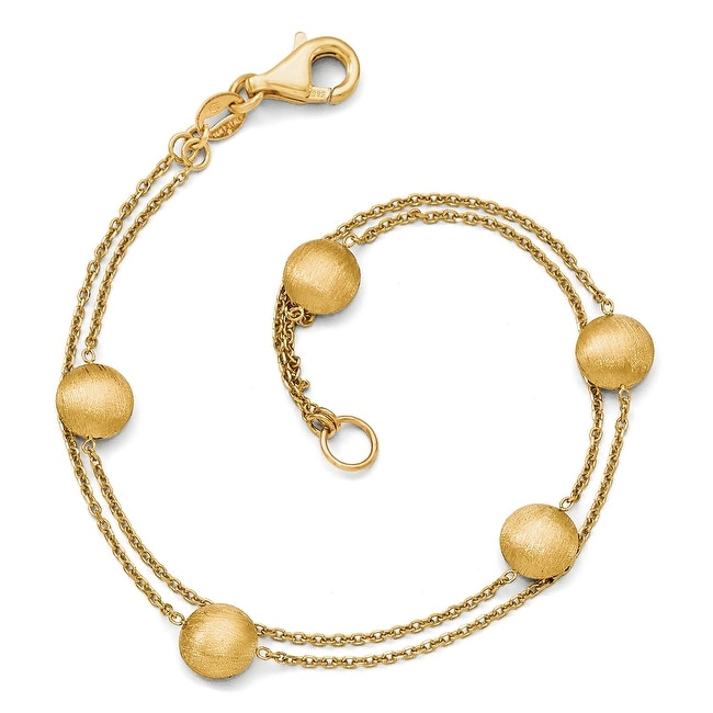 Italian 14k Gold Scratch Finish Beaded Double Strand Fancy Bracelet - 7.5 inches