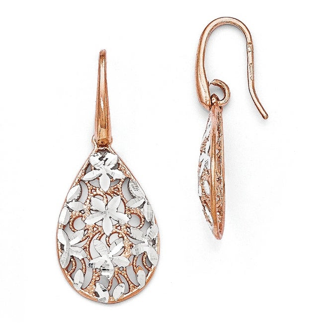 Italian Sterling Silver Rose Gold-toned Polished Textured Earrings