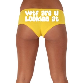 Women's Sexy Hot Booty Boy Shorts WTF Are You Looking At? Gothic White Bold Style Type Lingerie