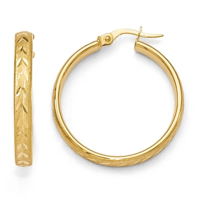 Italian 14k Gold Polished Diamond Cut Brushed Large Hoop Earrings