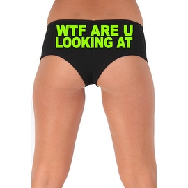 Women's Sexy Hot Booty Boy Shorts WTF Are You Looking At? Block Green Bold Style Type Lingerie