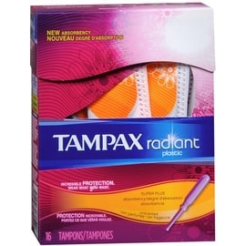 Tampax Radiant Plastic Tampons Super Plus Absorbency, Unscented 16 ea