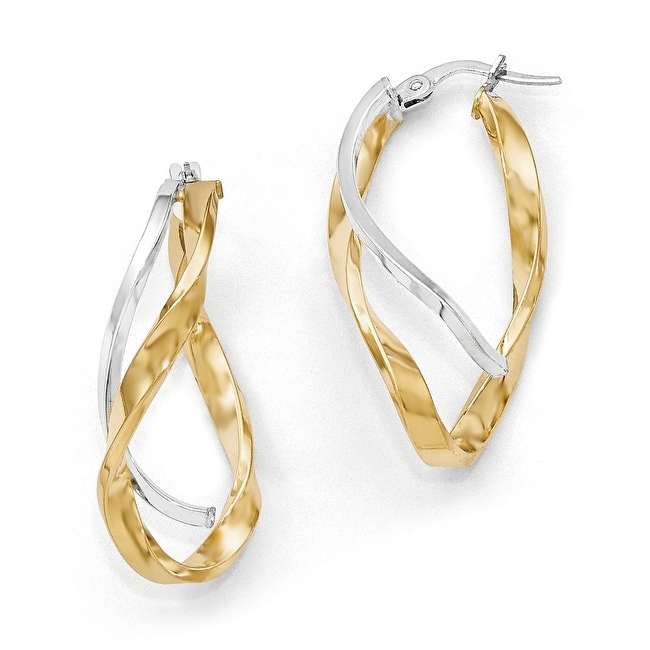 73177e8f5b85f Italian 14k Gold with Rhodium-plated Polished Large Twisted Hoop Earrings