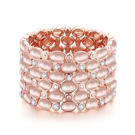 Vienna Jewelry 18K Rose Gold Classic Bangle with Austrian Crystal Elements