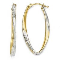 Italian 10k Gold White Rhodium-plated Diamond Cut Hoop Earrings