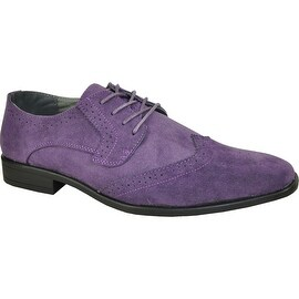 BRAVO Men Dress Shoe KING-3 Wingtip Oxford Shoe Purple - Wide Width Available (More options available)
