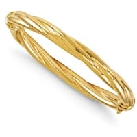 Italian 14k Gold Polished Twisted Hinged Bangle