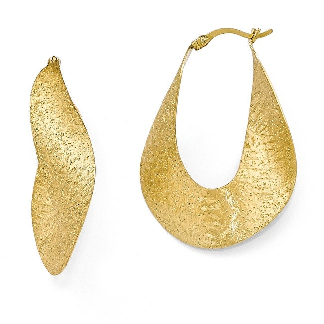 Sterling Silver Yellow Gold-plated Textured Hoop Earrings