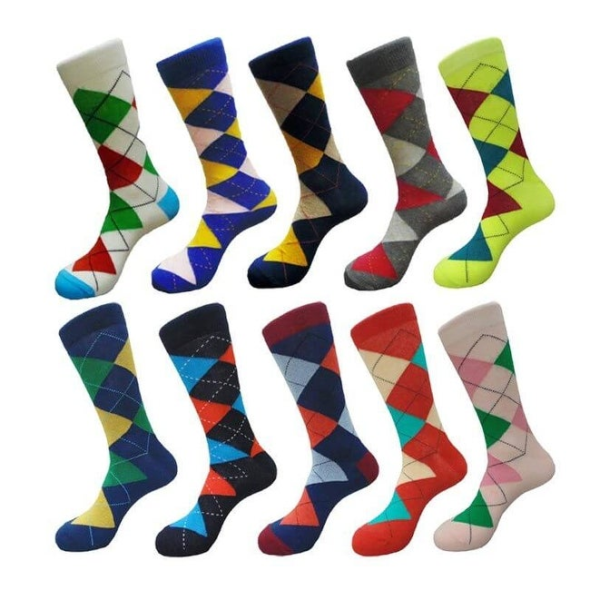 7b22be0566 Shop Fancy Men's Argyle Cotton Crew Dress Socks (10 PAIRs) Size 10 - 13 -  Free Shipping On Orders Over $45 - Overstock - 11624701