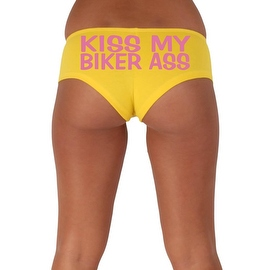 Women's Sexy Hot Booty Boy Shorts Kiss My Biker Ass Block Pink Bold Style Type Lingerie