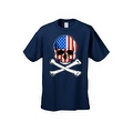 Men's T-Shirt USA Flag Skull Crossed Bones American Pride Stars/Stripes Patriotic - Thumbnail 5