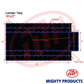 Xtarps - 16' x 27' Flatbed Truck Tarp - Light Weight Lumber Tarp with 4' Drop
