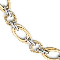 14k Two-Tone Gold Polished and Textured Fancy Link Bracelet - 7.5 inches