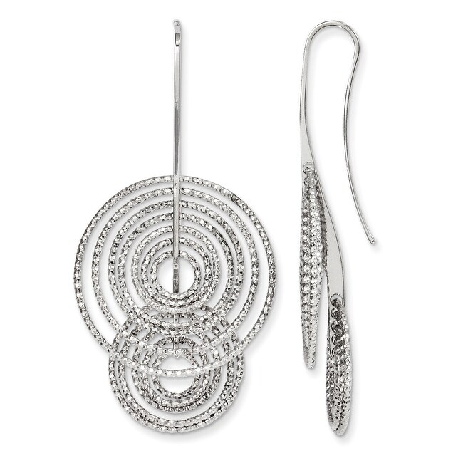 Italian Sterling Silver Laser-cut Damgle Shepherd Hook Earrings