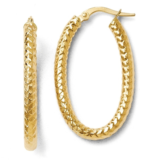 Italian 14k Gold Polished and Textured Oval Hoop Earrings