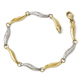 10k Gold with Rhodium Diamond Cut Bracelet - 7 inches