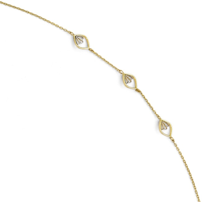 14k Gold with White Rhodium-plated Polished and Textured Anklet with 1in ext - 9 inches