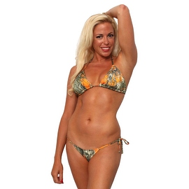 Women's 2-Piece Orange Beach Bikini True Timber Triangle Top & Tie Side Thong Swimwear Swimsuit
