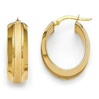 Italian 14k Gold Polished and Brushed Oval Hinged Hoop Earrings