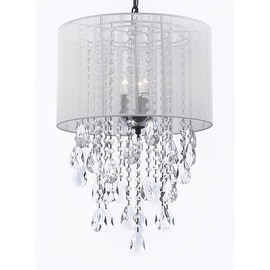 Crystal Chandelier Lighting Empress Crystal With Large White Shade